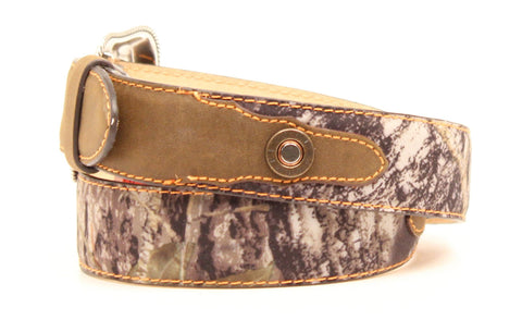 Nocona Mossy Oak Leather Boys Rope Edging Belt