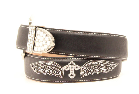 Nocona Black Leather Girls Cross & Wings Belt