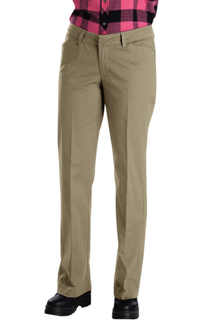 Dickies Womens Desert Sand Womens Relaxed Straight Stretch Twill Pants
