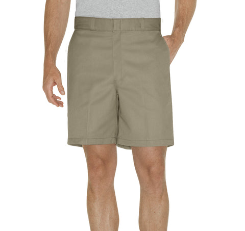 Dickies Mens Khaki 8In Relaxed Fit Traditional Flat Front Shorts