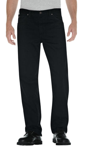Dickies Mens Rinsed Overdyed Black Straight Fit 5-Pocket Denim Jean
