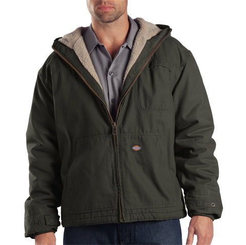 Dickies Mens Rinsed Black Olive Duck Sherpa Lined Hooded Jacket
