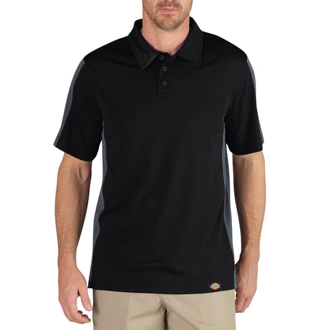 Dickies Mens Black/Charcoal S/S Industrial Color Block Polo Shirt