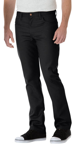 Dickies Mens Black Slim Straight 5-Pocket Twill Work Pants