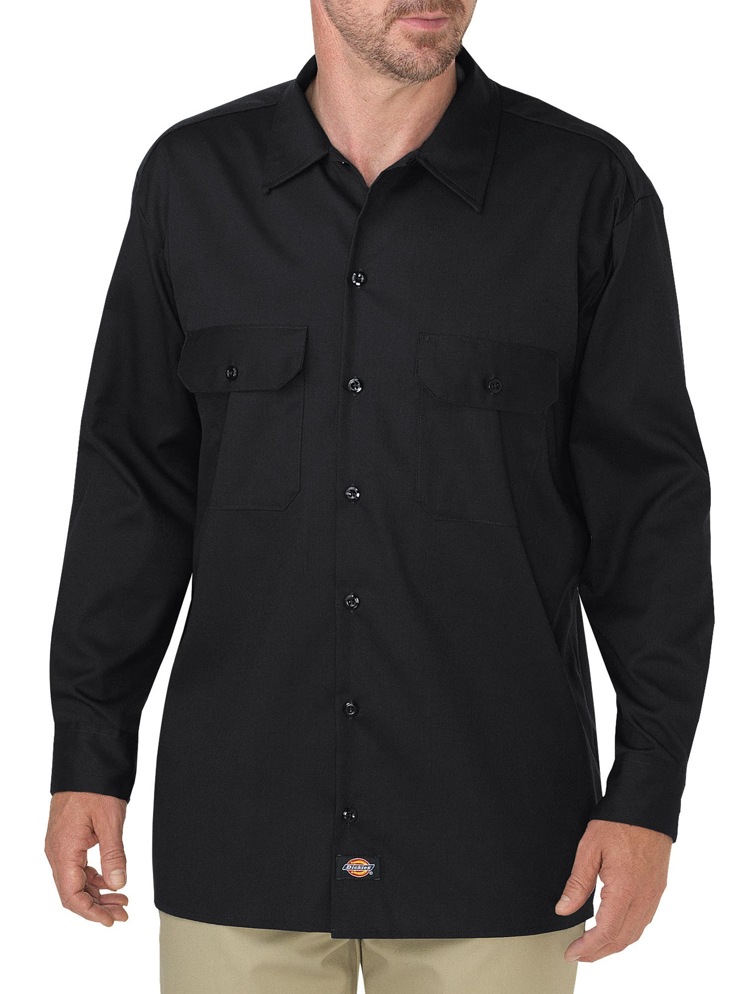 bf189691938 Dickies Mens Black L S Flex Relaxed Fit Long Sleeve Twill Work Shirt ...