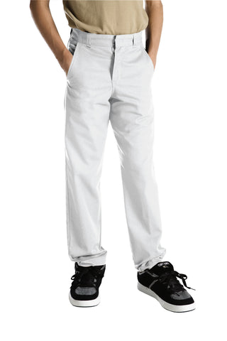 Dickies Boys White Boys Classic Fit Straight Leg Flat Front Pants