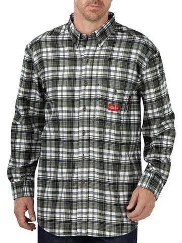Dickies Mens White/Grapeleaf Plaid L/S Fr L/S Plaid Shirt