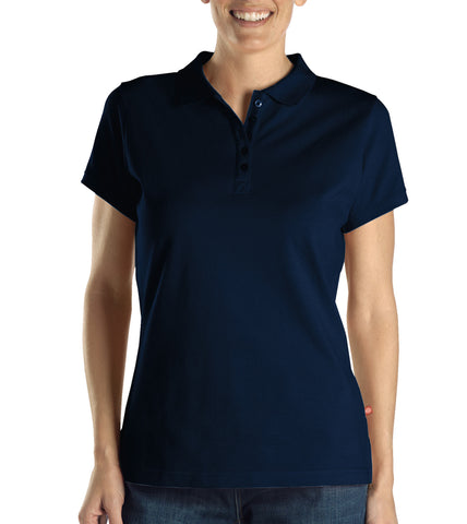 Dickies Womens Dark Navy S/S Womens Solid Pique Polo