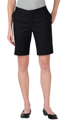 Dickies Womens Black Womens 9In Relaxed Fit Flat Front Shorts