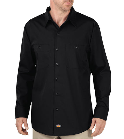 Dickies Mens Black L/S Industrial Worktech L/S Performance Shirt