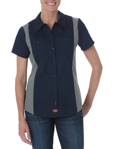 Dickies Womens Dark Navy/Smoke S/S Industrial S/S Color Block Shirt