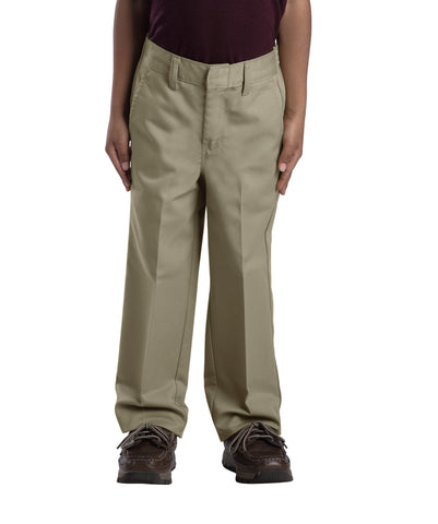 Dickies Boys Khaki Boys Classic Fit Straight Leg Flat Front Pants