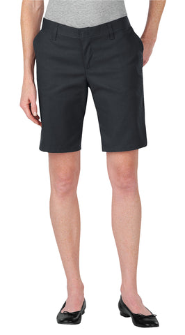 Dickies Womens Dow Charcoal Womens 9In Relaxed Fit Flat Front Shorts