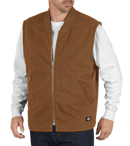 Dickies Mens Rinsed Brown Sanded Duck Insulated Vest