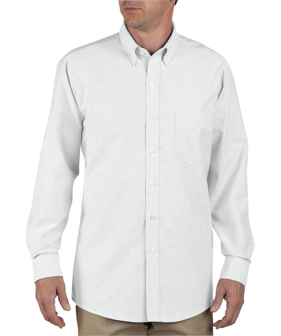 Dickies Mens White L/S Button-Down Long Sleeve Oxford Shirt