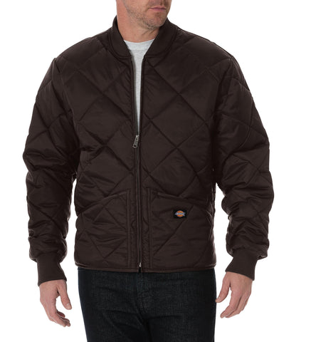 Dickies Mens Chocolate Brown Diamond Quilted Nylon Jacket