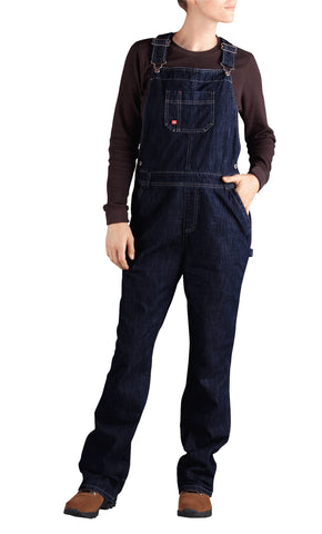 Dickies Womens Dark Indigo Black Straight Leg Bib Overall