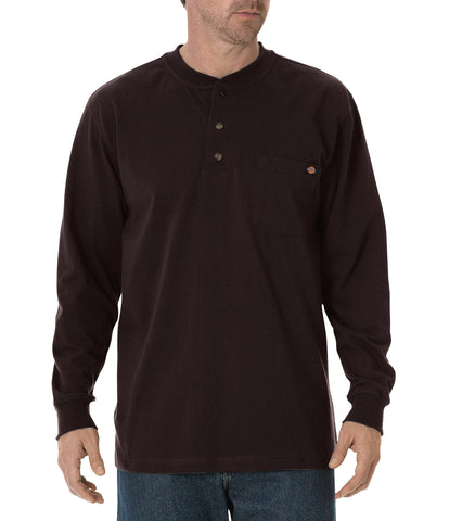 Dickies Mens Chocolate Brown L/S Heavy Weight Henley Shirt
