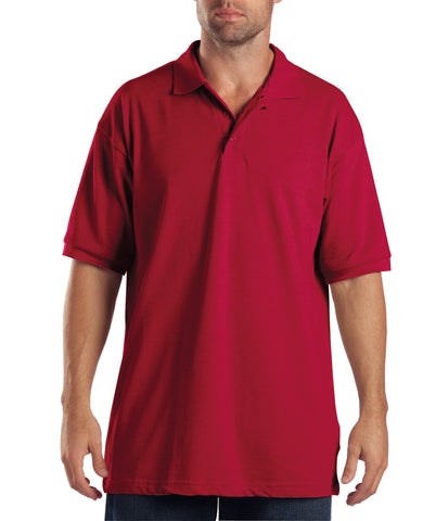 Dickies Mens English Red S/S Adult Sized Short Sleeve Pique Polo Shirt