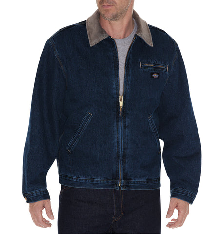 Dickies Mens Dark Indigo Stone Washed Denim Jacket