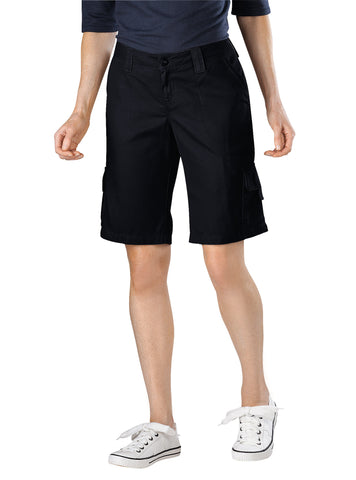 Dickies Womens Rinsed Black Womens 11In Relaxed Fit Cotton Cargo Short