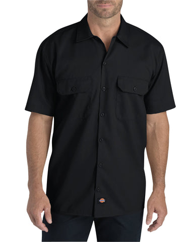 Dickies Mens Black S/S Flex Relaxed Fit Short Sleeve Twill Work Shirt