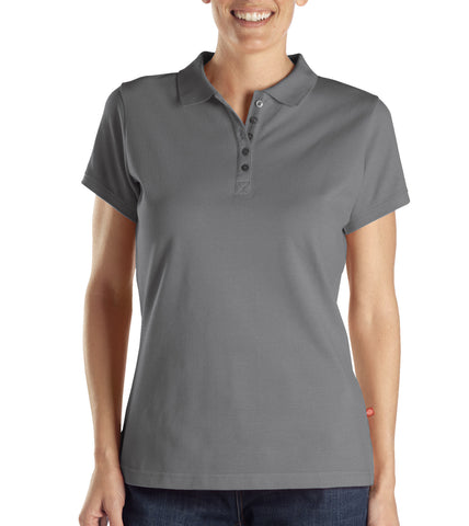 Dickies Womens Heather Gray S/S Womens Solid Pique Polo