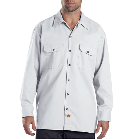 Dickies Mens White L/S Long Sleeve Work Shirt