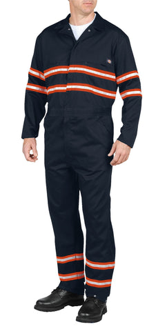 Dickies Mens Dark Navy Enhanced Visibility Long Sleeve Coverall