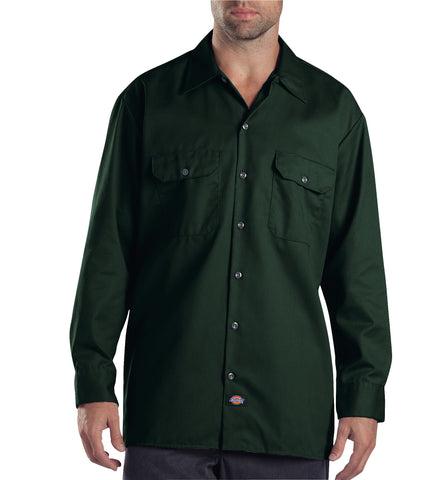 Dickies Mens Hunter Green L/S Long Sleeve Work Shirt