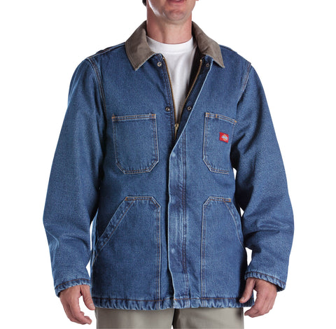 Dickies Mens Indigo Blue Denim Zip Front Chore Coat
