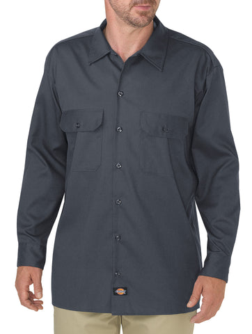 Dickies Mens Charcoal L/S Flex L/S Twill Work Shirt
