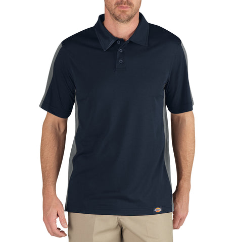 Dickies Mens Dark Navy/Smoke S/S Industrial Color Block Polo Shirt
