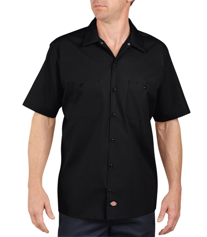 Dickies Mens Black S/S Industrial Short Sleeve Work Shirt
