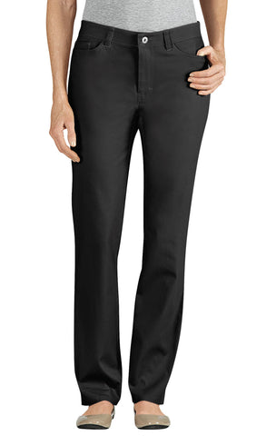 Dickies Womens Black Skinny Leg 5-Pocket Stretch Twill Pants