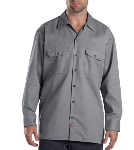 Dickies Mens Silver L/S Long Sleeve Work Shirt