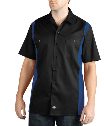 Dickies Mens Black/Royal S/S Two-Tone Short Sleeve Work Shirt