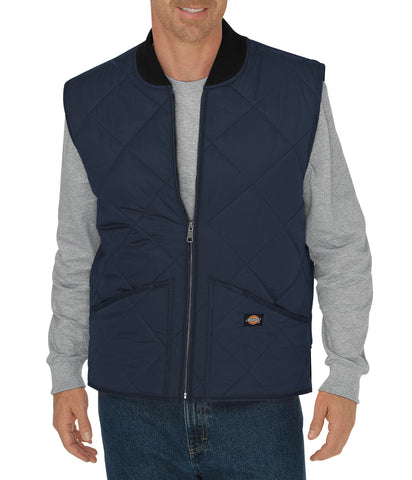 Dickies Mens Dark Navy Diamond Quilted Nylon Vest