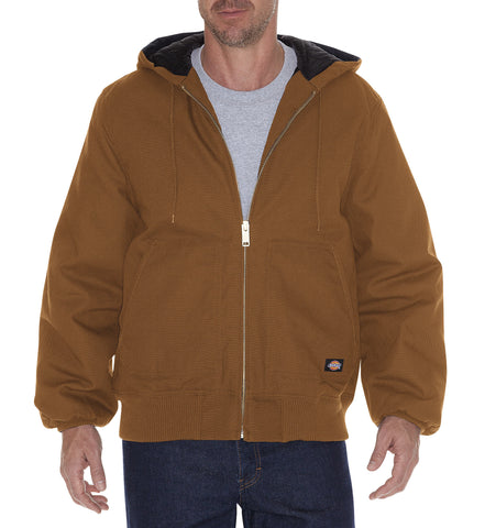 Dickies Mens Brown Rigid Duck Hooded Jacket