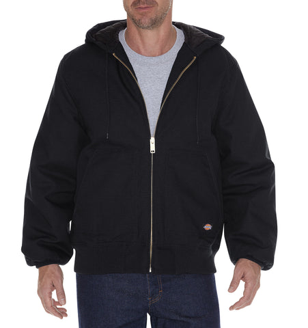 Dickies Mens Black Rigid Duck Hooded Jacket