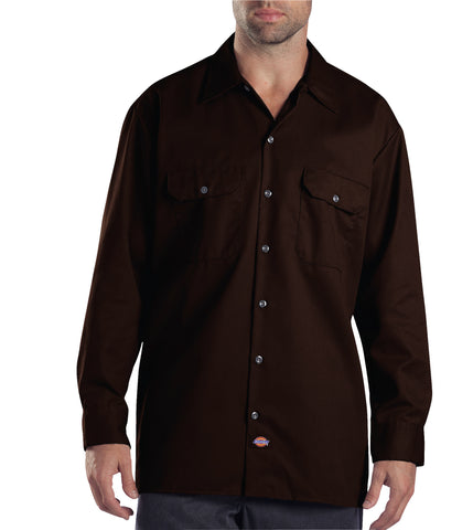 Dickies Mens Dark Brown L/S Long Sleeve Work Shirt