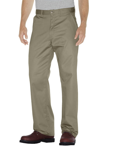 Dickies Mens Khaki Premium Cotton Flat Front Pants
