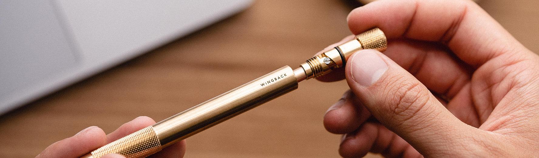 Personalised Mechanical Pen in brass and steel by Wingback