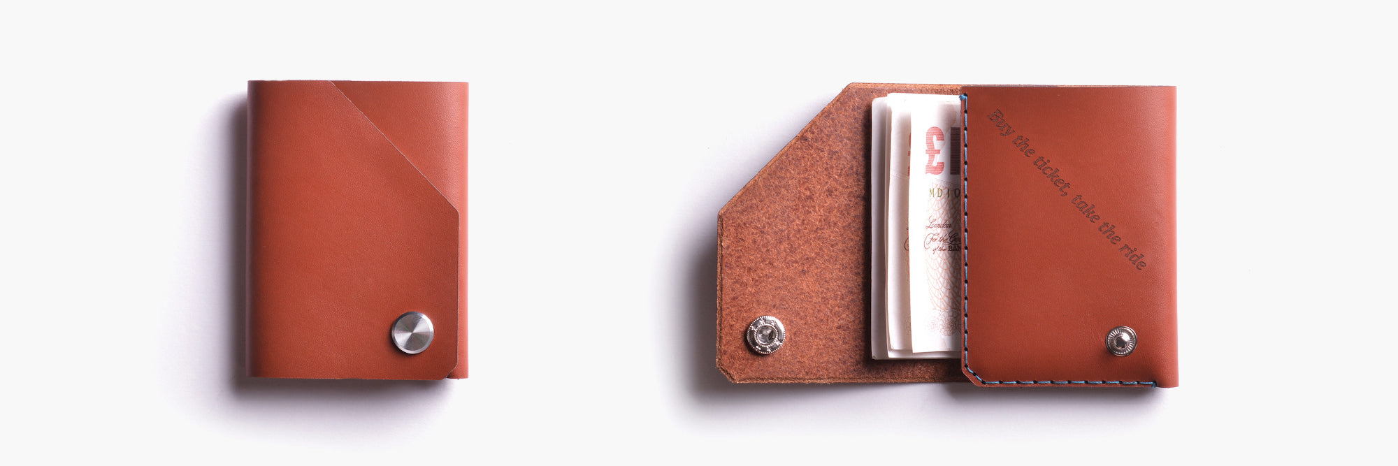 Personalised leather wallet in cognac by Wingback