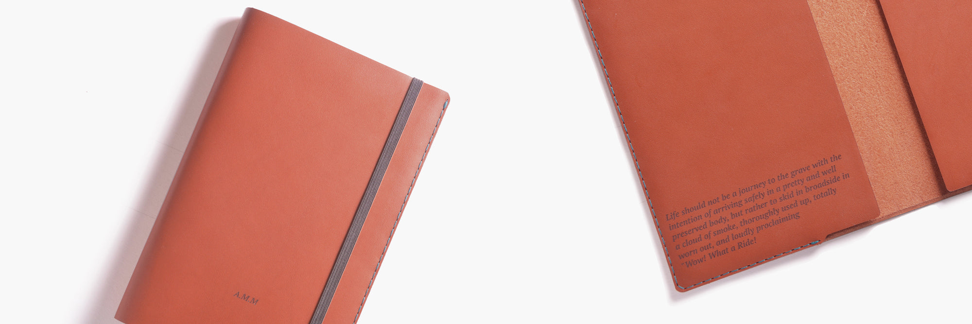 Personalised leather notebook cover in cognac by Wingback