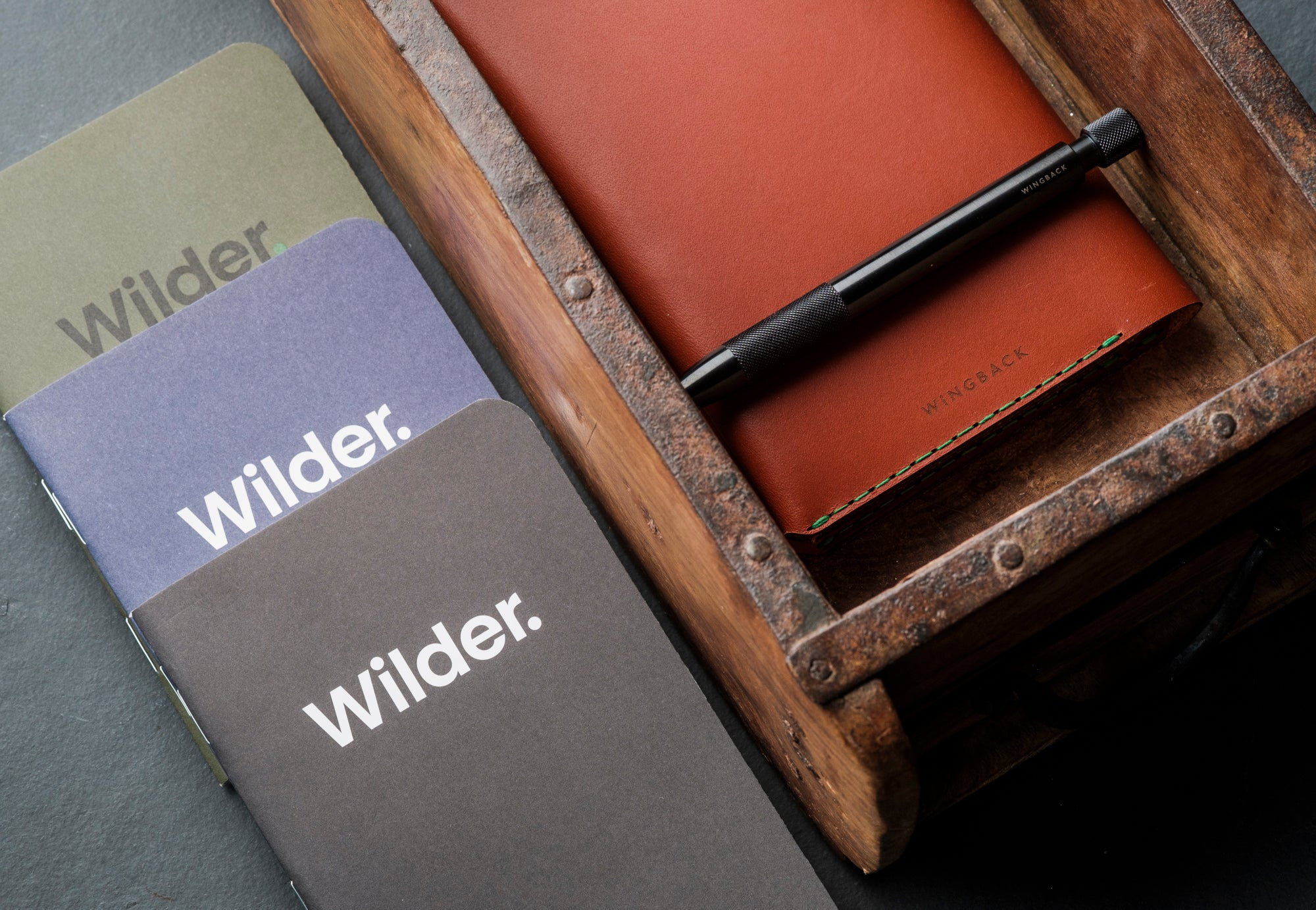 Shop Wilder notebooks and Wingback Winston Travel Wallet