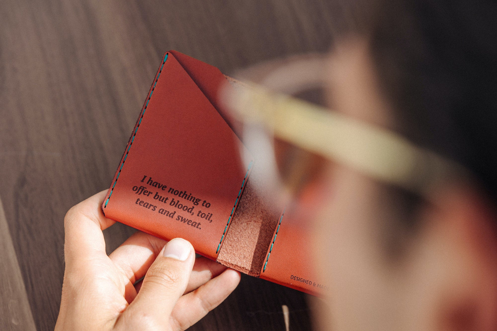 Personalised Leather Bifold Wallet in Cognac by Wingback