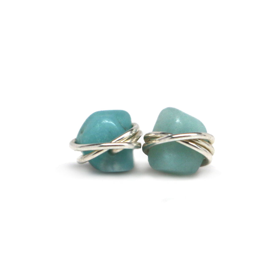 Amazonite Nugget Studs