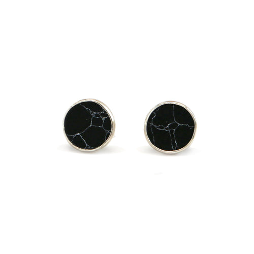 Black Howlite Circle Stud