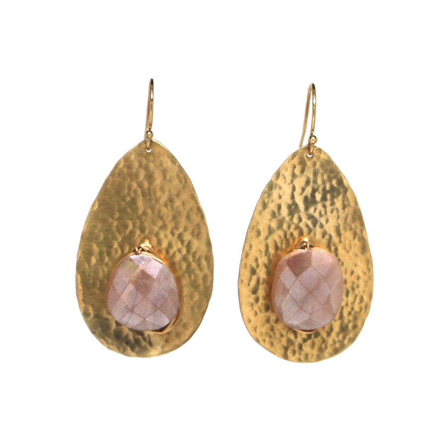 Coba Earrings - Peach Moonstone